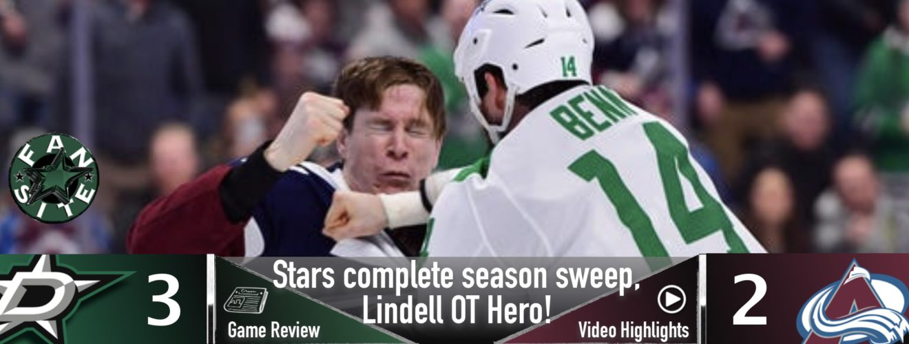 Stars complete season sweep, Lindell the OT hero!