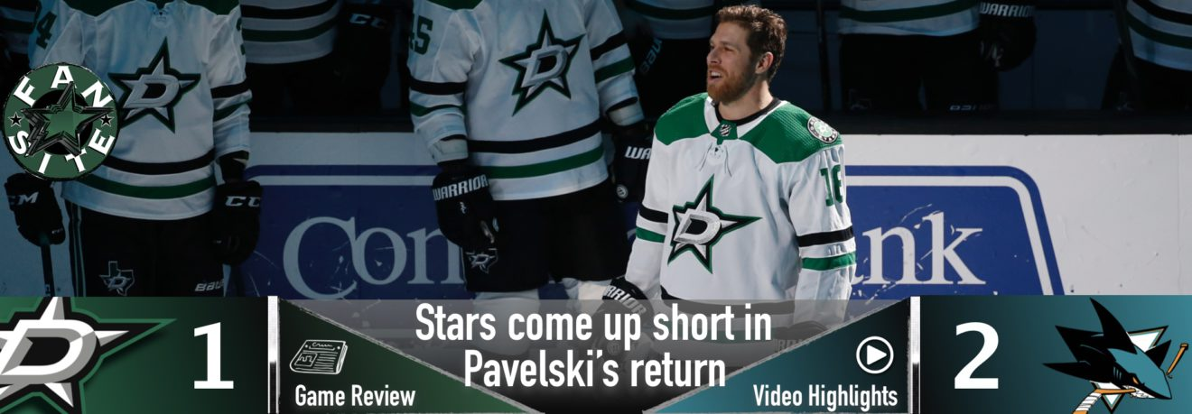 Stars come up short in Pavelski's return