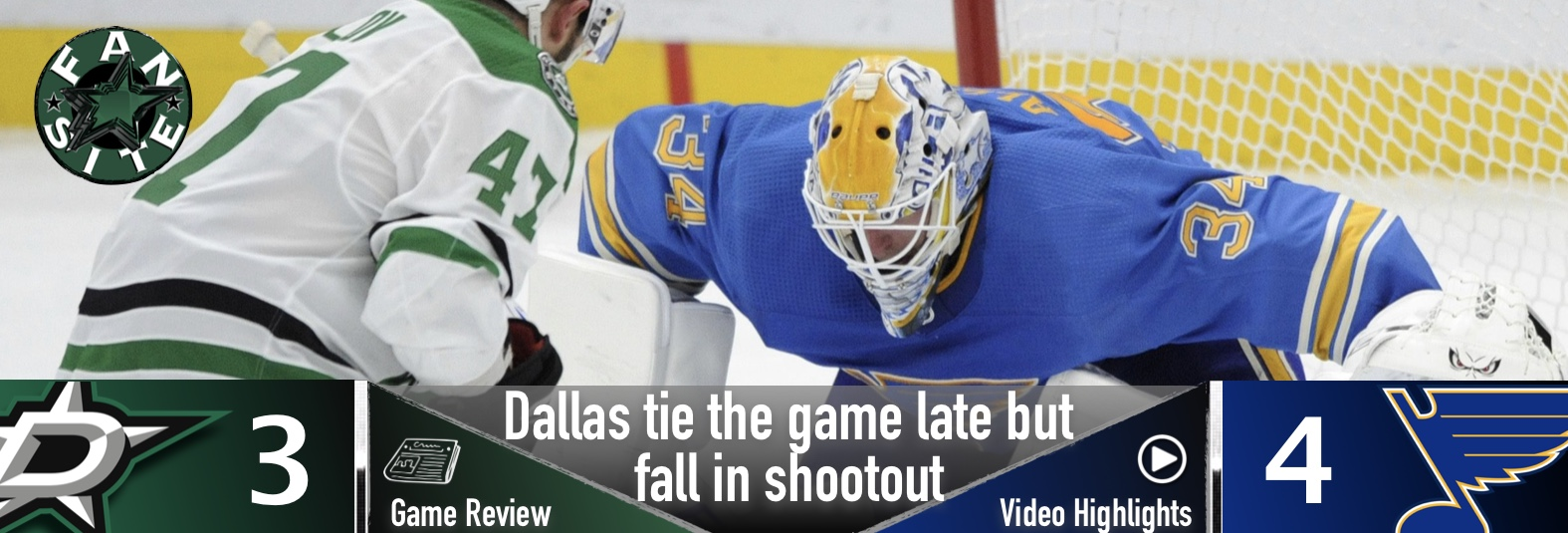 Stars tie it late but fall in shootout
