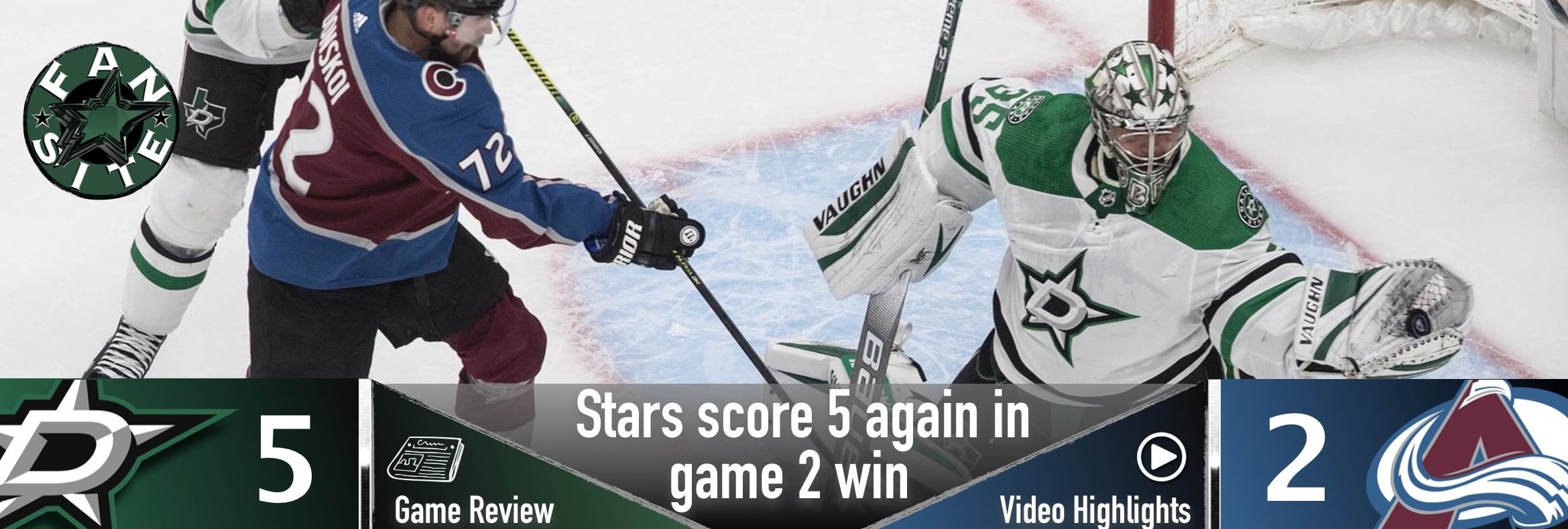 Stars score 5 again in game 2 win