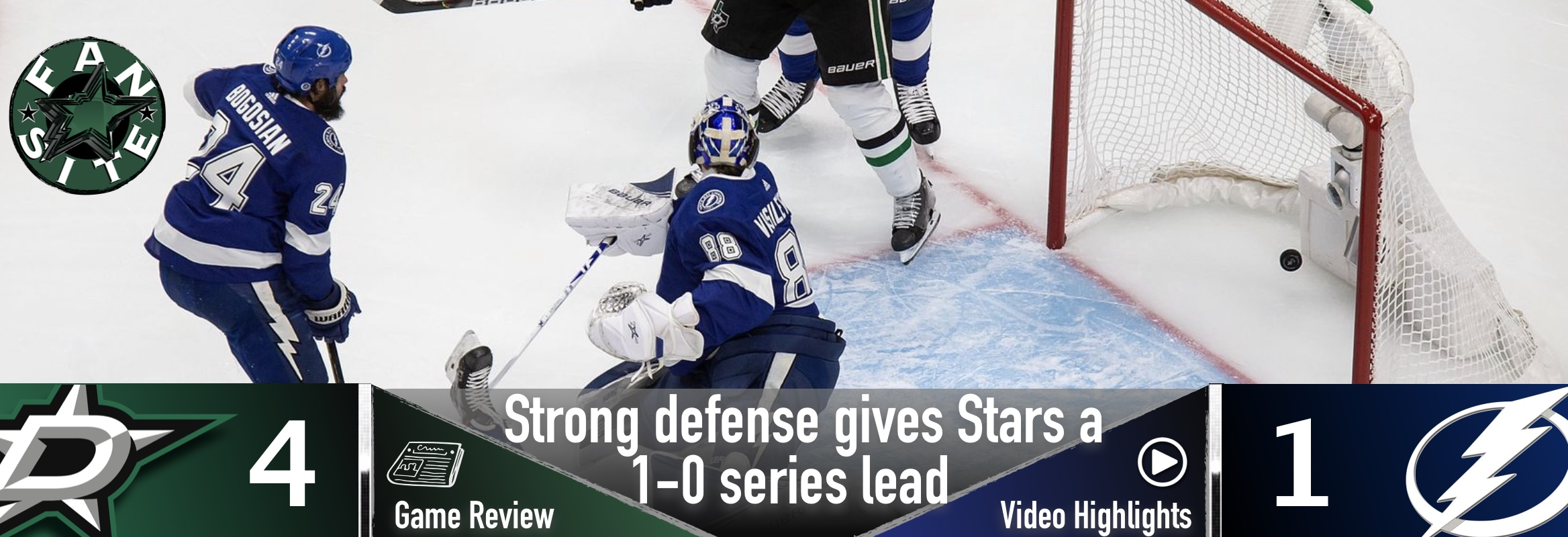 Strong defense gives Stars a 1-0 series lead