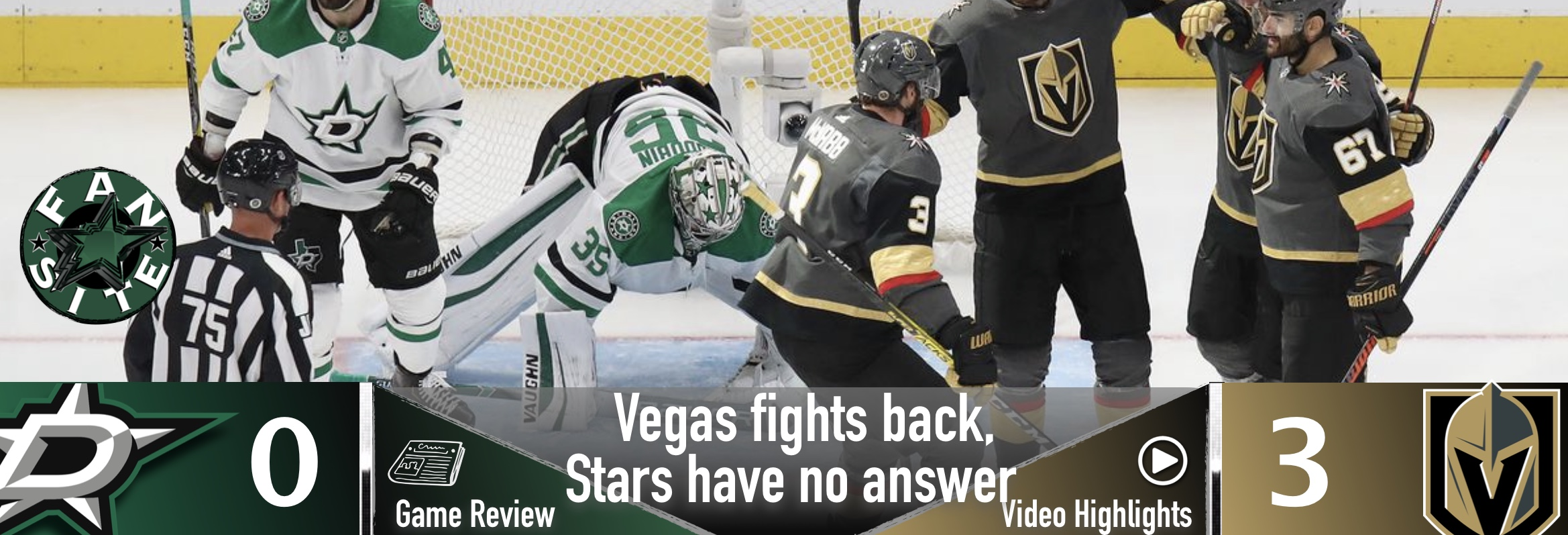 Vegas fights back, Stars have no answer